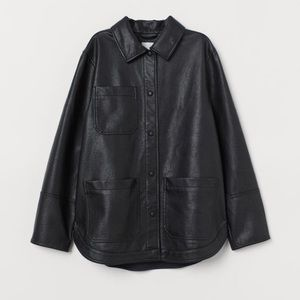 H&M Oversized Faux Leather Shirt